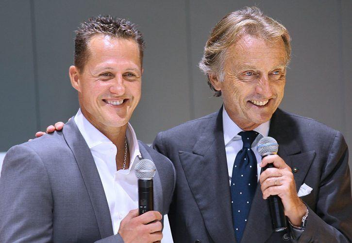Michael Schumacher (GER), Test Driver, Scuderia Ferrari with Luca di Montezemolo (ITA), Scuderia Ferrari, FIAT Chairman and President of Ferrari
