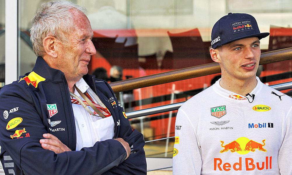 Dr Helmut Marko (AUT) Red Bull Motorsport Consultant with Max Verstappen (NLD) Red Bull Racing