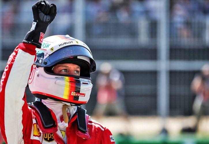 Canadian Grand Prix: Sebastian Vettel (GER) Ferrari celebrates his pole position in qualifying parc ferme