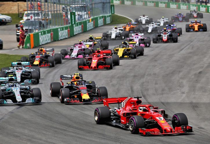 Sebastian Vettel (GER) Ferrari SF71H leads the Canadian Grand Prix
