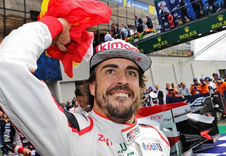 Le Mans race winner Fernando Alonso (ESP) Toyota Gazoo Racing celebrates in parc ferme. 16-17.06.2018
