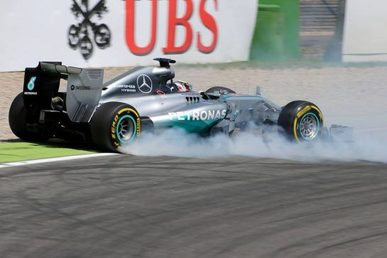 Lewis Hamilton (GBR), Mercedes AMG F1 Team crash during Q119.07.2014. Formula 1 World Championship, Rd 10, German Grand Prix, Hockenheim, Germany, Qualifying Day.- www.xpbimages.com, EMail: requests@xpbimages.com - copy of publication required for printed pictures. Every used picture is fee-liable. © Copyright: Charniaux / XPB Images
