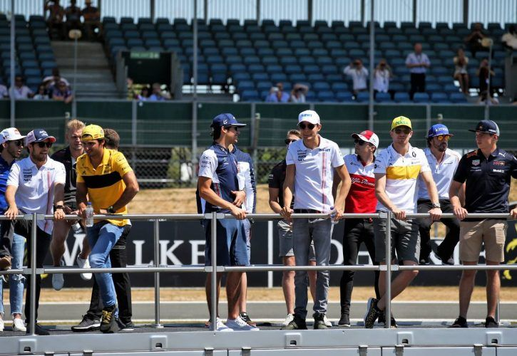 The drivers parade.