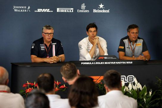 The FIA Press Conference (L to R): Otmar Szafnauer (USA) Sahara Force India F1 Chief Operating Officer; Toto Wolff (GER) Mercedes AMG F1 Shareholder and Executive Director; Mario Isola (ITA) Pirelli Racing Manager.
