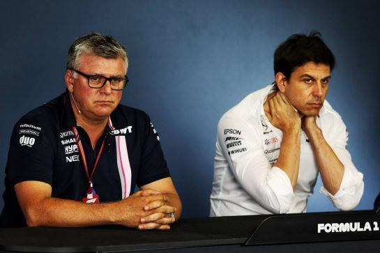 (L to R): Otmar Szafnauer (USA) Sahara Force India F1 Chief Operating Officer and Toto Wolff (GER) Mercedes AMG F1 Shareholder and Executive Director in the  FIA Press Conference.