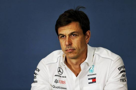 Toto Wolff (GER) Mercedes AMG F1 Shareholder and Executive Director in the FIA Press Conference.