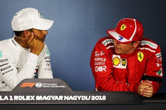 (L to R): Lewis Hamilton (GBR) Mercedes AMG F1 and Kimi Raikkonen (FIN) Ferrari in the post qualifying FIA Press Conference. 28.07.2018. Formula 1 World Championship, Rd 12, Hungarian Grand Prix, Budapest, Hungary, Qualifying Day.  - www.xpbimages.com, EMail: requests@xpbimages.com - copy of publication required for printed pictures. Every used picture is fee-liable. © Copyright: Bearne / XPB Images