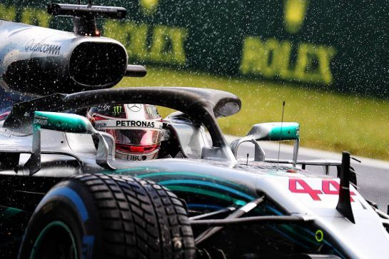 Pole sitter Lewis Hamilton (GBR) Mercedes AMG F1 W09 in qualifying parc ferme. 28.07.2018. Formula 1 World Championship, Rd 12, Hungarian Grand Prix, Budapest, Hungary, Qualifying Day. - www.xpbimages.com, EMail: requests@xpbimages.com - copy of publication required for printed pictures. Every used picture is fee-liable. © Copyright: Photo4 / XPB Images