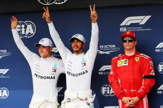 Qualifying top three in parc ferme (L to R): Valtteri Bottas (FIN) Mercedes AMG F1, second; Lewis Hamilton (GBR) Mercedes AMG F1, pole position; Kimi Raikkonen (FIN) Ferrari, third. 28.07.2018. Formula 1 World Championship, Rd 12, Hungarian Grand Prix, Budapest, Hungary, Qualifying Day. - www.xpbimages.com, EMail: requests@xpbimages.com - copy of publication required for printed pictures. Every used picture is fee-liable. © Copyright: Photo4 / XPB Images