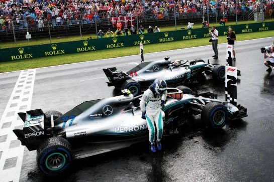 Valtteri Bottas (FIN) Mercedes AMG F1 W09 and Lewis Hamilton (GBR) Mercedes AMG F1 W09 in qualifying parc ferme. 28.07.2018. Formula 1 World Championship, Rd 12, Hungarian Grand Prix, Budapest, Hungary, Qualifying Day.  - www.xpbimages.com, EMail: requests@xpbimages.com - copy of publication required for printed pictures. Every used picture is fee-liable. © Copyright: Bearne / XPB Images