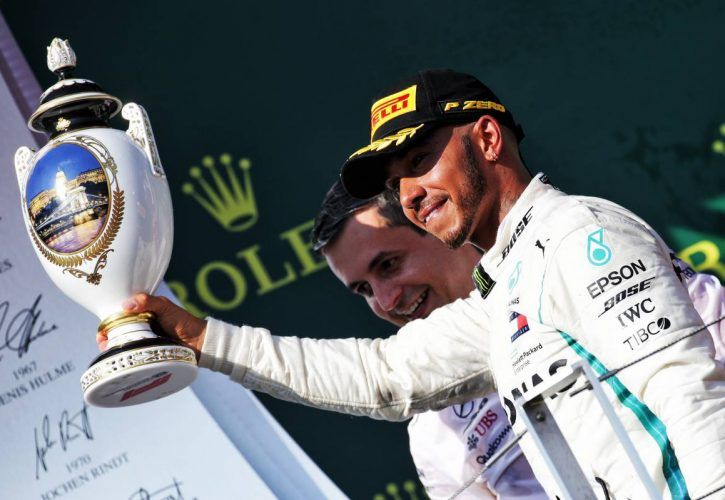 Race winner Lewis Hamilton (GBR) Mercedes AMG F1 celebrates on the podium after the Hungarian Grand Prix
