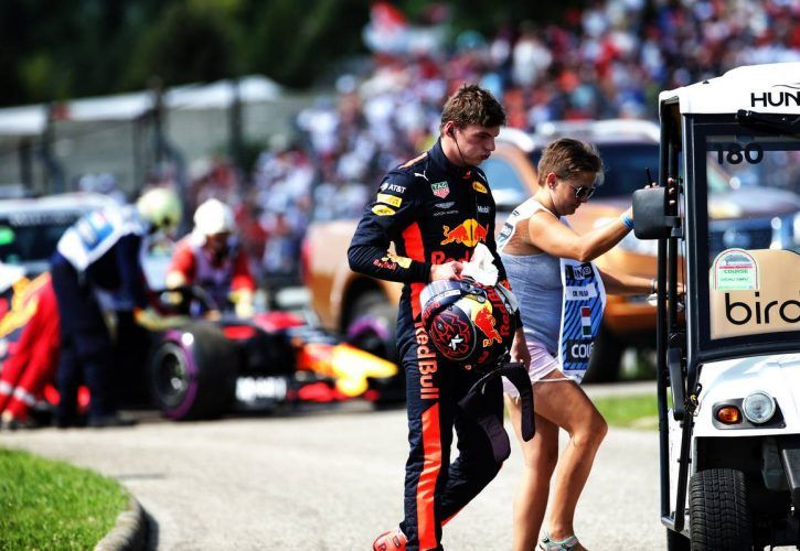 Max Verstappen (NLD) Red Bull Racing RB14 retired from the Hungarian Grand Prix