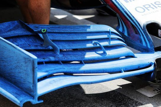 Williams FW41 front wing with flow-vis paint. 31.07.2018. Formula 1 Testing, Budapest, Hungary. - www.xpbimages.com, EMail: requests@xpbimages.com - copy of publication required for printed pictures. Every used picture is fee-liable. © Copyright: Moy / XPB Images