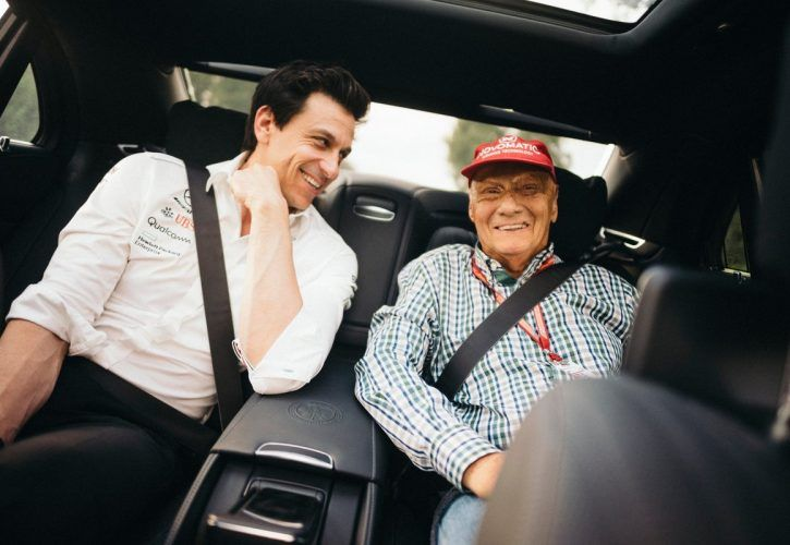 Mercedes' Niki Lauda and Toto Wolff