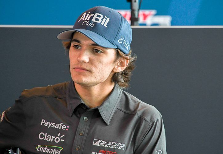 Pietro Fittipaldi at a press conference a the Indianapolis Motor Speedway
