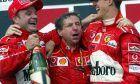 F1 in Budapest, Podium am Sonntag, Rubens Barrichello (1ter), Jean Todt, Michael Schumacher (2ter)
