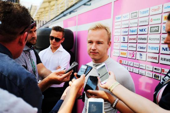 Nikita Mazepin (RUS) Sahara Force India F1 Team Development Driver with the media. 01.08.2018. Formula 1 Testing, Budapest, Hungary. - www.xpbimages.com, EMail: requests@xpbimages.com - copy of publication required for printed pictures. Every used picture is fee-liable. © Copyright: Moy / XPB Images