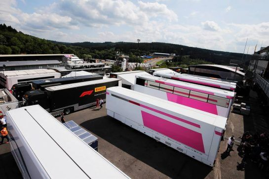 Force India F1 Team trucks in the paddock. 23.08.2018. Formula 1 World Championship, Rd 13, Belgian Grand Prix, Spa Francorchamps, Belgium, Preparation Day. - www.xpbimages.com, EMail: requests@xpbimages.com - copy of publication required for printed pictures. Every used picture is fee-liable. © Copyright: Moy / XPB Images