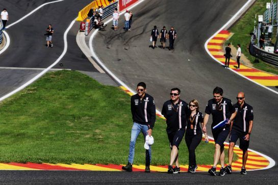 Esteban Ocon (FRA) Force India F1 Team walks the circuit with the team. 23.08.2018. Formula 1 World Championship, Rd 13, Belgian Grand Prix, Spa Francorchamps, Belgium, Preparation Day. - www.xpbimages.com, EMail: requests@xpbimages.com - copy of publication required for printed pictures. Every used picture is fee-liable. © Copyright: Moy / XPB Images