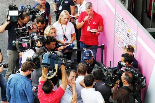 Sergio Perez (MEX) Force India F1 Team with the media. 23.08.2018. Formula 1 World Championship, Rd 13, Belgian Grand Prix, Spa Francorchamps, Belgium, Preparation Day. - www.xpbimages.com, EMail: requests@xpbimages.com - copy of publication required for printed pictures. Every used picture is fee-liable. © Copyright: Moy / XPB Images