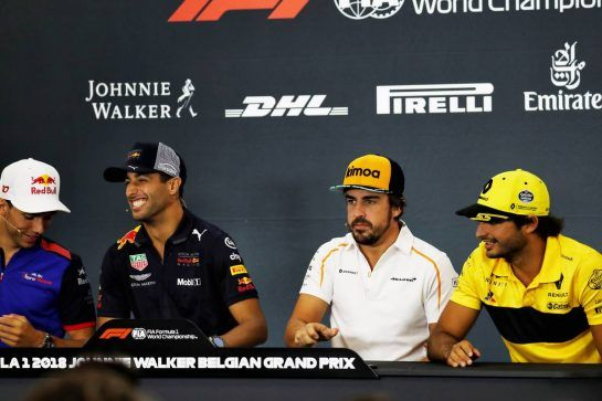The FIA Press Conference (L to R): Pierre Gasly (FRA) Scuderia Toro Rosso; Daniel Ricciardo (AUS) Red Bull Racing; Fernando Alonso (ESP) McLaren; Carlos Sainz Jr (ESP) Renault Sport F1 Team. 23.08.2018. Formula 1 World Championship, Rd 13, Belgian Grand Prix, Spa Francorchamps, Belgium, Preparation Day. - www.xpbimages.com, EMail: requests@xpbimages.com - copy of publication required for printed pictures. Every used picture is fee-liable. © Copyright: Photo4 / XPB Images