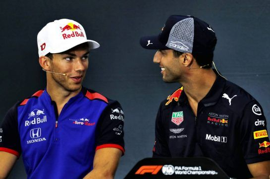 (L to R): Pierre Gasly (FRA) Scuderia Toro Rosso and Daniel Ricciardo (AUS) Red Bull Racing in the FIA Press Conference. 23.08.2018. Formula 1 World Championship, Rd 13, Belgian Grand Prix, Spa Francorchamps, Belgium, Preparation Day. - www.xpbimages.com, EMail: requests@xpbimages.com - copy of publication required for printed pictures. Every used picture is fee-liable. © Copyright: Photo4 / XPB Images