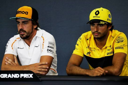(L to R): Fernando Alonso (ESP) McLaren and Carlos Sainz Jr (ESP) Renault Sport F1 Team in the FIA Press Conference. 23.08.2018. Formula 1 World Championship, Rd 13, Belgian Grand Prix, Spa Francorchamps, Belgium, Preparation Day. - www.xpbimages.com, EMail: requests@xpbimages.com - copy of publication required for printed pictures. Every used picture is fee-liable. © Copyright: Photo4 / XPB Images