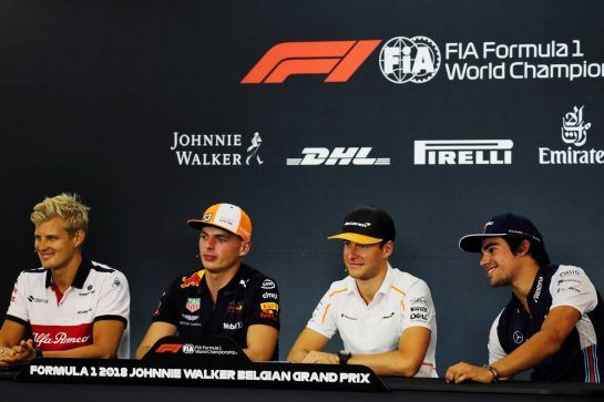 The FIA Press Conference (L to R): Marcus Ericsson (SWE) Sauber F1 Team; Max Verstappen (NLD) Red Bull Racing; Stoffel Vandoorne (BEL) McLaren; Lance Stroll (CDN) Williams. 23.08.2018. Formula 1 World Championship, Rd 13, Belgian Grand Prix, Spa Francorchamps, Belgium, Preparation Day. - www.xpbimages.com, EMail: requests@xpbimages.com - copy of publication required for printed pictures. Every used picture is fee-liable. © Copyright: Photo4 / XPB Images