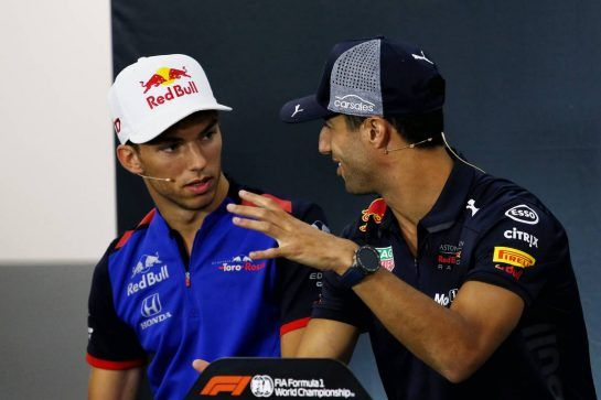 (L to R): Pierre Gasly (FRA) Scuderia Toro Rosso and Daniel Ricciardo (AUS) Red Bull Racing in the FIA Press Conference. 23.08.2018. Formula 1 World Championship, Rd 13, Belgian Grand Prix, Spa Francorchamps, Belgium, Preparation Day. - www.xpbimages.com, EMail: requests@xpbimages.com - copy of publication required for printed pictures. Every used picture is fee-liable. © Copyright: Charniaux / XPB Images