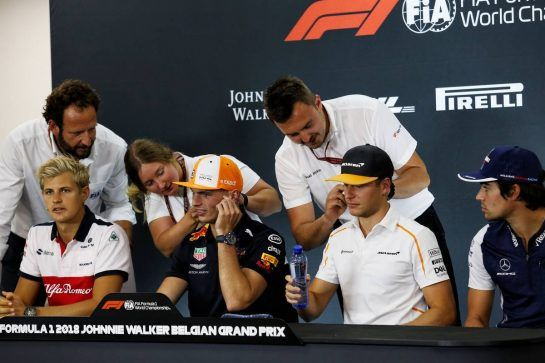 The FIA Press Conference (L to R): Marcus Ericsson (SWE) Sauber F1 Team; Max Verstappen (NLD) Red Bull Racing; Stoffel Vandoorne (BEL) McLaren; Lance Stroll (CDN) Williams. 23.08.2018. Formula 1 World Championship, Rd 13, Belgian Grand Prix, Spa Francorchamps, Belgium, Preparation Day. - www.xpbimages.com, EMail: requests@xpbimages.com - copy of publication required for printed pictures. Every used picture is fee-liable. © Copyright: Charniaux / XPB Images