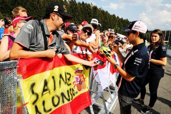 Sergio Perez (MEX) Force India F1 Team signs autographs for the fans. 23.08.2018. Formula 1 World Championship, Rd 13, Belgian Grand Prix, Spa Francorchamps, Belgium, Preparation Day. - www.xpbimages.com, EMail: requests@xpbimages.com - copy of publication required for printed pictures. Every used picture is fee-liable. © Copyright: Moy / XPB Images