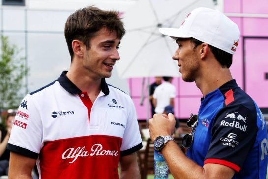 (L to R): Charles Leclerc (MON) Sauber F1 Team with Pierre Gasly (FRA) Scuderia Toro Rosso. 23.08.2018. Formula 1 World Championship, Rd 13, Belgian Grand Prix, Spa Francorchamps, Belgium, Preparation Day. - www.xpbimages.com, EMail: requests@xpbimages.com - copy of publication required for printed pictures. Every used picture is fee-liable. © Copyright: Batchelor / XPB Images