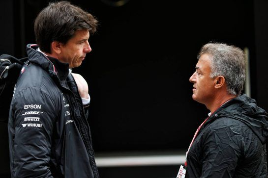 (L to R): Toto Wolff (GER) Mercedes AMG F1 Shareholder and Executive Director with Jean Alesi (FRA). 24.08.2018. Formula 1 World Championship, Rd 13, Belgian Grand Prix, Spa Francorchamps, Belgium, Practice Day. - www.xpbimages.com, EMail: requests@xpbimages.com - copy of publication required for printed pictures. Every used picture is fee-liable. © Copyright: Batchelor / XPB Images