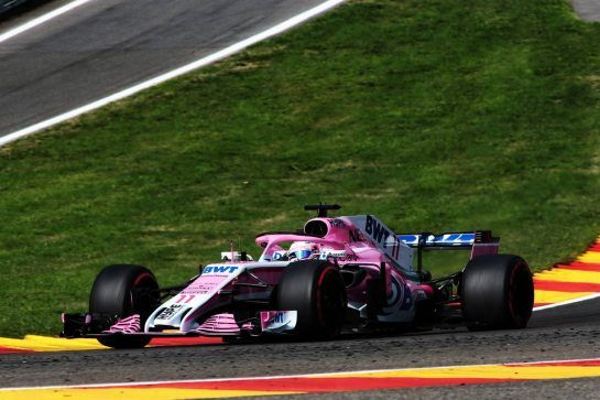 Sergio Perez (MEX) Racing Point Force India F1 VJM11. 24.08.2018. Formula 1 World Championship, Rd 13, Belgian Grand Prix, Spa Francorchamps, Belgium, Practice Day. - www.xpbimages.com, EMail: requests@xpbimages.com - copy of publication required for printed pictures. Every used picture is fee-liable. © Copyright: Photo4 / XPB Images