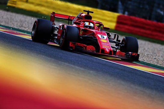 Sebastian Vettel (GER) Ferrari SF71H. 25.08.2018. Formula 1 World Championship, Rd 13, Belgian Grand Prix, Spa Francorchamps, Belgium, Qualifying Day. - www.xpbimages.com, EMail: requests@xpbimages.com - copy of publication required for printed pictures. Every used picture is fee-liable. © Copyright: Moy / XPB Images