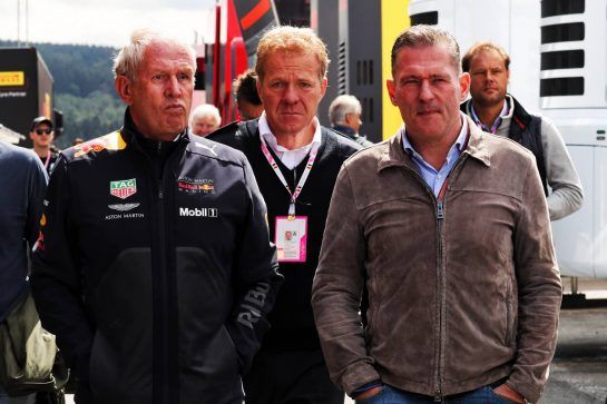 Dr Helmut Marko (AUT) Red Bull Motorsport Consultant with Jos Verstappen (NLD). 25.08.2018. Formula 1 World Championship, Rd 13, Belgian Grand Prix, Spa Francorchamps, Belgium, Qualifying Day. - www.xpbimages.com, EMail: requests@xpbimages.com - copy of publication required for printed pictures. Every used picture is fee-liable. © Copyright: Photo4 / XPB Images