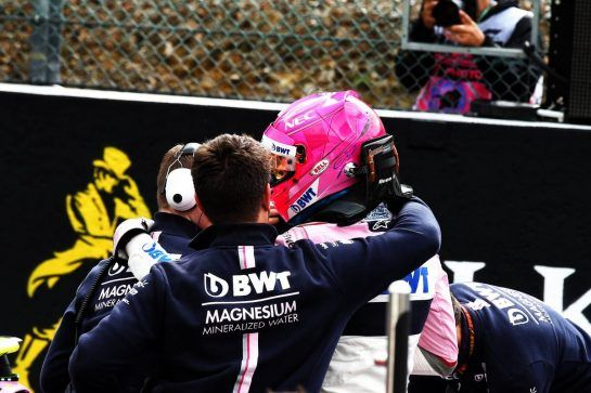 Esteban Ocon (FRA) Racing Point Force India F1 Team celebrates his third position in qualifying parc ferme with the team. 25.08.2018. Formula 1 World Championship, Rd 13, Belgian Grand Prix, Spa Francorchamps, Belgium, Qualifying Day. - www.xpbimages.com, EMail: requests@xpbimages.com - copy of publication required for printed pictures. Every used picture is fee-liable. © Copyright: Batchelor / XPB Images