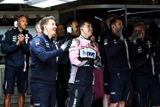 Racing Point Force India F1 Team celebrate third and fourth positions in qualifying. 25.08.2018. Formula 1 World Championship, Rd 13, Belgian Grand Prix, Spa Francorchamps, Belgium, Qualifying Day. - www.xpbimages.com, EMail: requests@xpbimages.com - copy of publication required for printed pictures. Every used picture is fee-liable. © Copyright: Moy / XPB Images