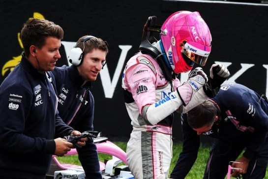 Esteban Ocon (FRA) Racing Point Force India F1 Team celebrates his third position in qualifying parc ferme. 25.08.2018. Formula 1 World Championship, Rd 13, Belgian Grand Prix, Spa Francorchamps, Belgium, Qualifying Day. - www.xpbimages.com, EMail: requests@xpbimages.com - copy of publication required for printed pictures. Every used picture is fee-liable. © Copyright: Moy / XPB Images