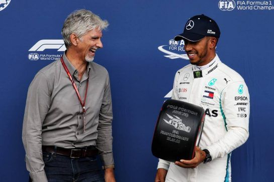 Lewis Hamilton (GBR) Mercedes AMG F1 receives the Pirelli Pole Position award from Damon Hill (GBR) Sky Sports Presenter. 25.08.2018. Formula 1 World Championship, Rd 13, Belgian Grand Prix, Spa Francorchamps, Belgium, Qualifying Day. - www.xpbimages.com, EMail: requests@xpbimages.com - copy of publication required for printed pictures. Every used picture is fee-liable. © Copyright: Moy / XPB Images