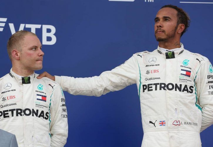 second placed Valtteri Bottas (FIN) Mercedes AMG F1 with race winner and team mate Lewis Hamilton