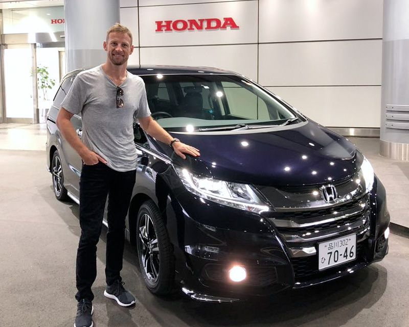 Jenson Button picks up his Honda 'hire car' to get him around in Fuji for the latest FIA WEC event.
