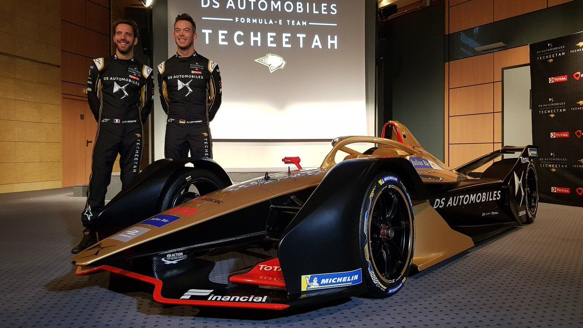 Jean-Eric Vergne and ANdre Lotterer show off the new Gen2 Techeetah DS-Automobiles-powered entry for the first season of the ABB FIA Formula E championship.