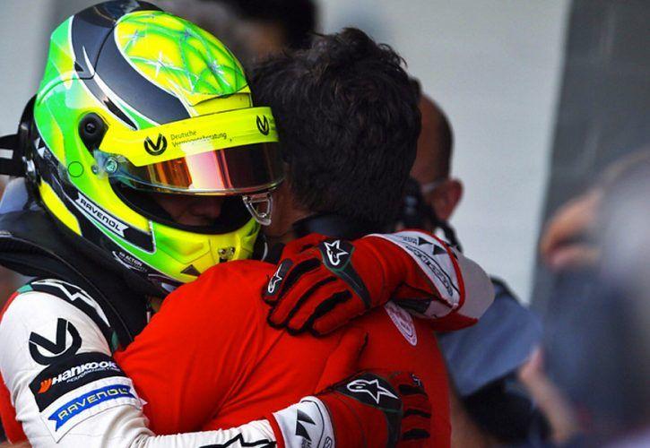 Mick Schumacher celebrates winning the 2018 European F3 championship at Hockenheim.
