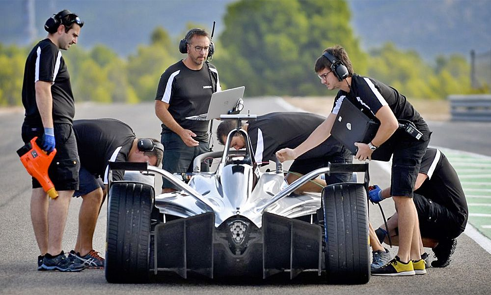 Nissan prepares for the first day of on-track testing for season 5 of the ABB FIA Formula E championship.