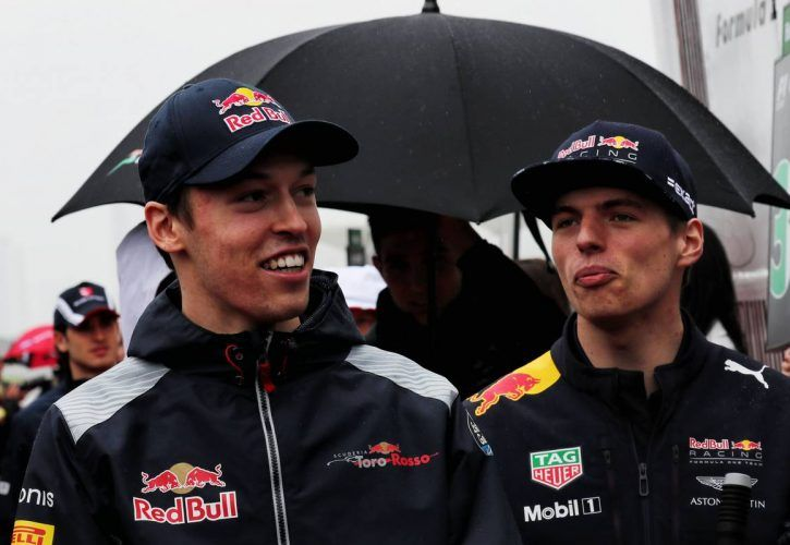 Daniil Kvyat (RUS) Scuderia Toro Rosso with Max Verstappen (NLD) Red Bull Racing