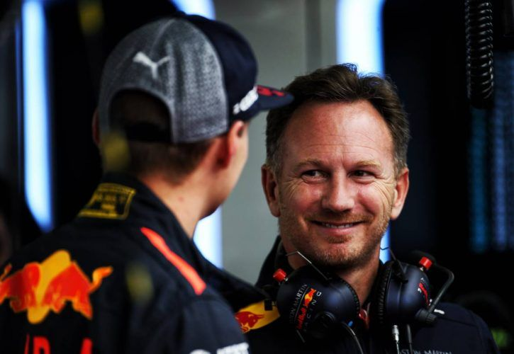Max Verstappen (NLD) Red Bull Racing with Christian Horner (GBR) Red Bull Racing Team Principal.