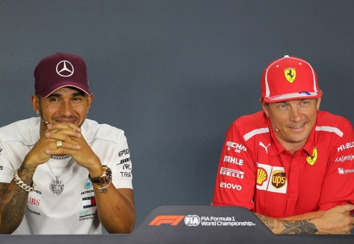 Lewis Hamilton (GBR) Mercedes AMG F1 and Kimi Raikkonen (FIN) Scuderia Ferrari