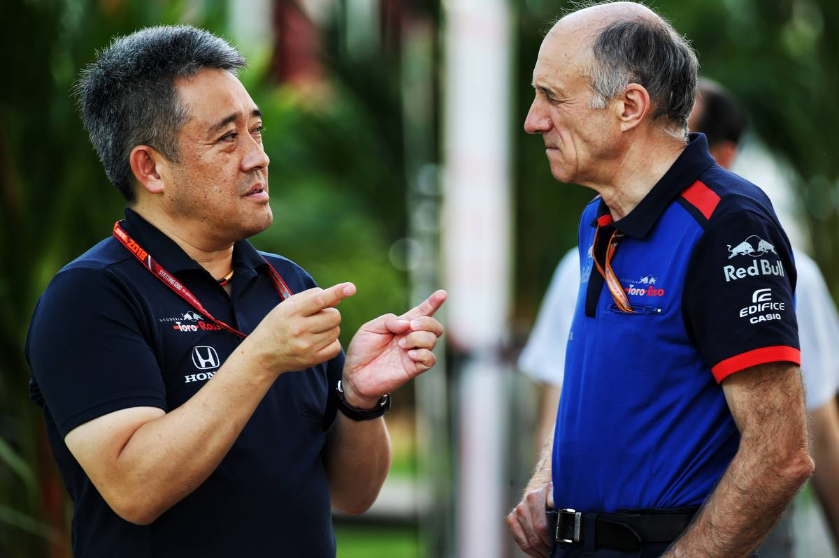 Toyoharu Tanabe (JPN) Honda F1 Technical Director with Franz Tost (AUT) Scuderia Toro Rosso Team Principal.