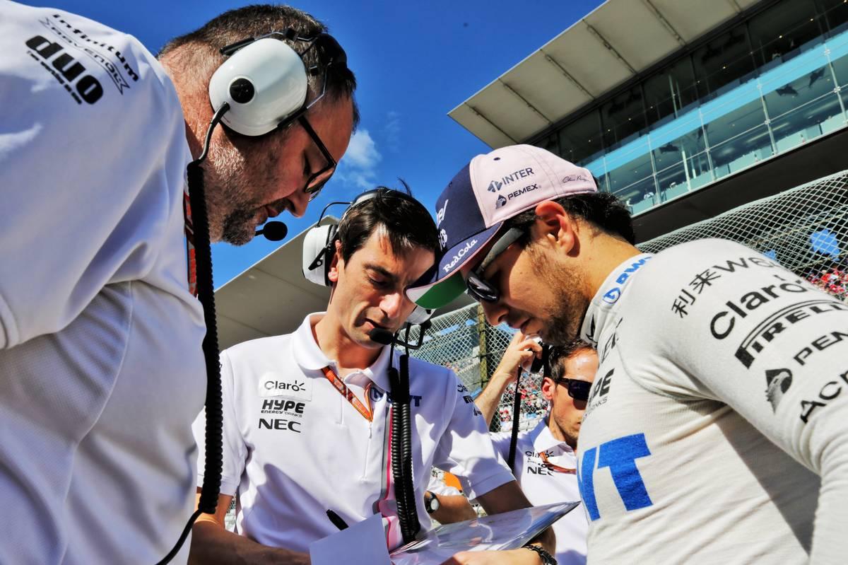 Sergio Perez (MEX) Racing Point Force India F1 Team on the grid at Suzuka